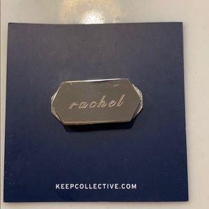 "KEEP Collective silver engraved Geo bar ""rachel"""